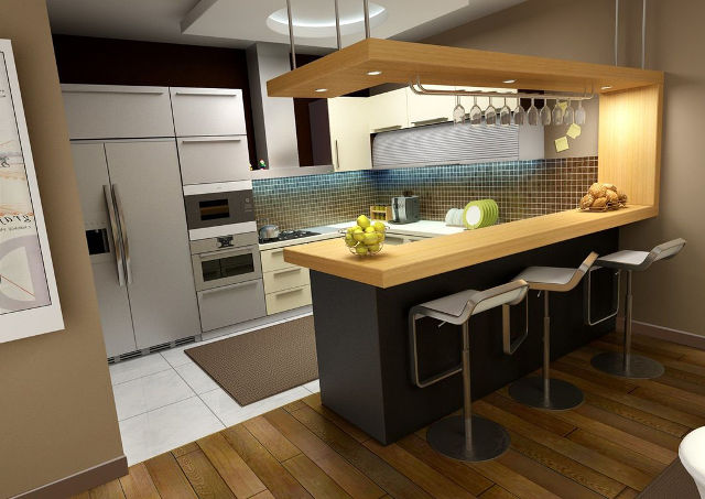 Проект угловой кухни с барной стойкой