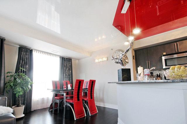 Натяжной потолок в кухне-гостиной