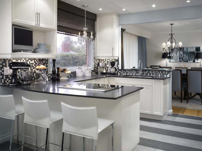 Черно-серо-белая кухня